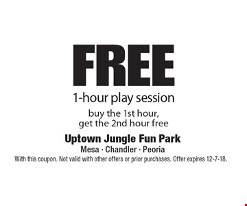 Free 1-hour play session buy the 1st hour, get the 2nd hour free. With this coupon. Not valid with other offers or prior purchases. Offer expires 12-7-18.