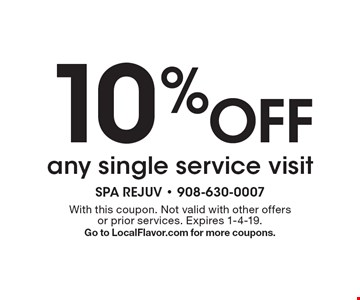 10% Off any single service visit. With this coupon. Not valid with other offers or prior services. Expires 1-4-19. Go to LocalFlavor.com for more coupons.