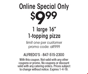 Online Special Only. $9.99 for 1 large 16
