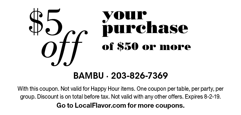 Bambu Restaurant. Hibachi. Sushi. Modern Asian. $15 OFF the Purchase of $100 or More.
