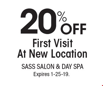 20% off first visit at new location. With this coupon. Not valid with other offers or prior services. Go to LocalFlavor.com for more coupons. Expires 1-25-19.