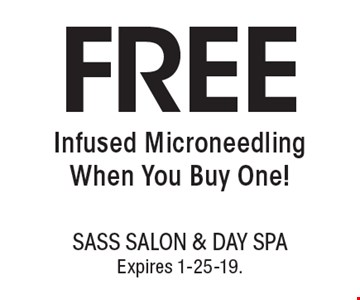 FREEInfused Microneedling When You Buy One!. With this coupon. Not valid with other offers or prior services. Go to LocalFlavor.com for more coupons.Expires 1-25-19.