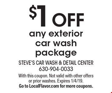 $1 off any exterior car wash package. With this coupon. Not valid with other offers or prior washes. Expires 1/4/19. Go to LocalFlavor.com for more coupons.