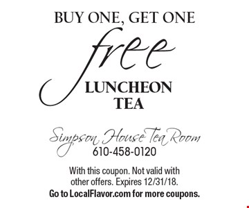 Buy one, get one free Luncheon tea. With this coupon. Not valid with other offers. Expires 12/31/18. Go to LocalFlavor.com for more coupons.