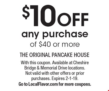 $10 OFF any purchase of $40 or more. With this coupon. Available at Cheshire Bridge & Memorial Drive locations.Not valid with other offers or priorpurchases. Expires 2-1-19.Go to LocalFlavor.com for more coupons.