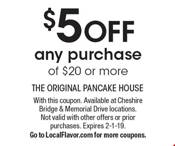 $5 OFF any purchase of $20 or more. With this coupon. Available at Cheshire Bridge & Memorial Drive locations.Not valid with other offers or priorpurchases. Expires 2-1-19.Go to LocalFlavor.com for more coupons.