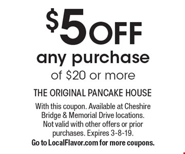$5 OFF any purchase of $20 or more. With this coupon. Available at Cheshire Bridge & Memorial Drive locations.Not valid with other offers or priorpurchases. Expires 3-8-19.Go to LocalFlavor.com for more coupons.