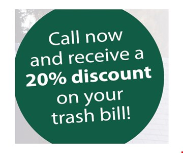 Call now and receive a 20% discount. New customers only. Expires 7-1-19.