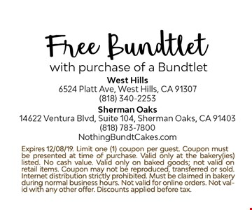 Free Bundtlet with purchase of a Bundtlet. Expires 12/8/19. Limit one (1) coupon per guest. Coupon must be presented at time of purchase.Valid only at the bakery(ies) listed. No cash value. Coupon may not be reproduced, transferred or sold. Internet distribution strictly prohibited. Must be claimed in bakery during normal business hours. Not valid for online orders. Not valid with any other offer.