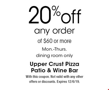 20%off any orderof $60 or more Mon.-Thurs. dining room only. With this coupon. Not valid with any other offers or discounts. Expires 12/6/19.