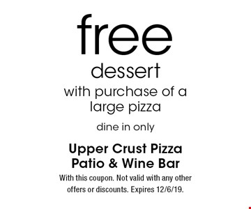 free dessert with purchase of a large pizza dine in only. With this coupon. Not valid with any other offers or discounts. Expires 12/6/19.