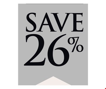 Save 26%Sale is 20% off all in-stock jewelryand we pay the 6% sales tax.Sale ends 12/31/19.