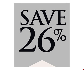 Save 26% Sale is 20% off all in-stock jewelry and we pay the 6% sales tax. Sale ends 12/31/19.