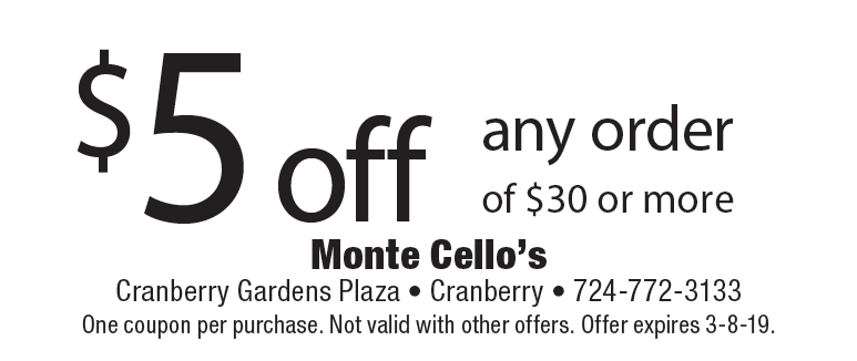 monte cellos coupon