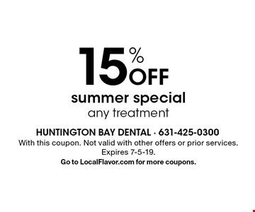 15% off summer special any treatment. With this coupon. Not valid with other offers or prior services. Expires 7-5-19. Go to LocalFlavor.com for more coupons.