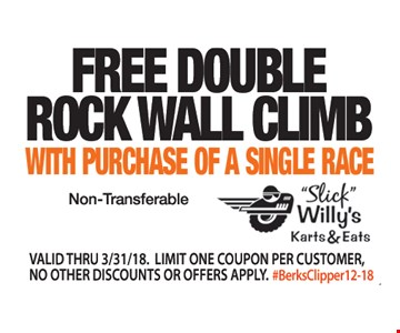 Free double rock wall climb with purchase of a single race. Valid thru03/31/19. Limit one coupon per customer, no other discounts or offers apply.