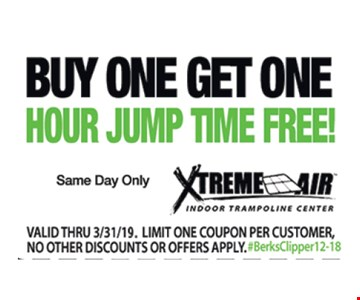 Buy One Get One Hour Jump Time Free Same day only. Valid thru 3/31/19. Limit one coupon per customer, no other discounts or offers apply. #BerksClipper12-18