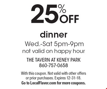 25% OFF dinner Wed.-Sat 5pm-9pm not valid on happy hour. With this coupon. Not valid with other offers or prior purchases. Expires 12-31-18.Go to LocalFlavor.com for more coupons.