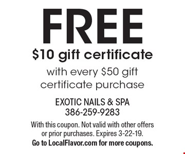 FREE $10 gift certificate with every $50 gift certificate purchase. With this coupon. Not valid with other offers or prior purchases. Expires 3-22-19. Go to LocalFlavor.com for more coupons.