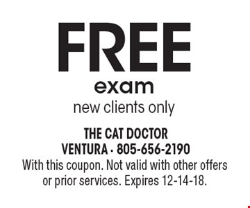 FREE exam new clients only. With this coupon. Not valid with other offers or prior services. Expires 12-14-18.