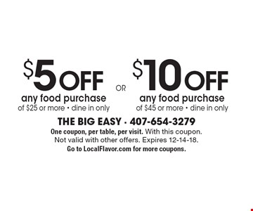 $10 Off any food purchase of $45 or more - dine in only. $5 Off any food purchase of $25 or more - dine in only. One coupon, per table, per visit. With this coupon.Not valid with other offers. Expires 12-14-18. Go to LocalFlavor.com for more coupons.