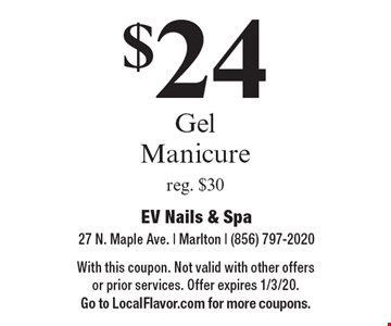 $24 Gel Manicure reg. $30. With this coupon. Not valid with other offers or prior services. Offer expires 1/3/20. Go to LocalFlavor.com for more coupons.