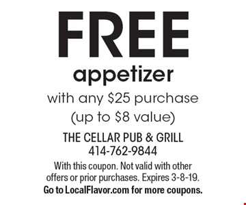FREE appetizer with any $25 purchase (up to $8 value). With this coupon. Not valid with other offers or prior purchases. Expires 3-8-19. Go to LocalFlavor.com for more coupons.