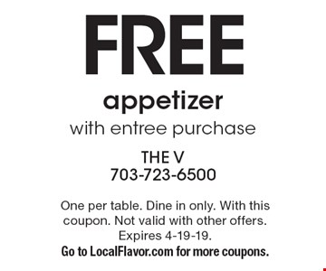 Free appetizer with entree purchase. One per table. Dine in only. With this coupon. Not valid with other offers. Expires 4-19-19. Go to LocalFlavor.com for more coupons.
