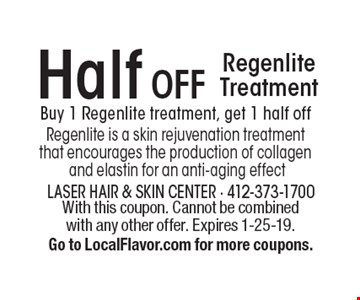 Half OFF Regenlite Treatment. Buy 1 Regenlite treatment, get 1 half off. Regenlite is a skin rejuvenation treatment that encourages the production of collagen and elastin for an anti-aging effect. With this coupon. Cannot be combined with any other offer. Expires 1-25-19. Go to LocalFlavor.com for more coupons.