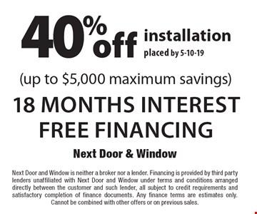 Next Door Window 40 Off 18 Months Interest Free Financing Installation Placed By