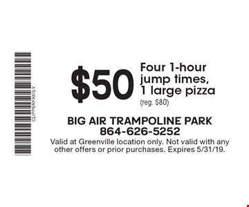 $50 Four 1-hour jump times, 1 large pizza (reg. $80). Valid at Greenville location only. Not valid with any other offers or prior purchases. Expires 5/31/19.