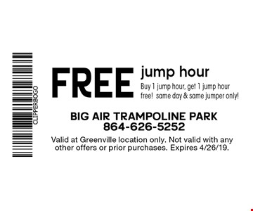FREE jump hour. Buy 1 jump hour, get 1 jump hour free!same day & same jumper only! Valid at Greenville location only. Not valid with any other offers or prior purchases. Expires 4/26/19.