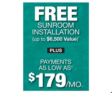 Free sunroom installation (up to $6,500 value)* Plus payments as low as $179/mo. Hurry! Offer ends 9/18/19. PROMO CODE: EXTRA *Discount applies to standard room installation only and varies by market. Foundation, electrical and peripheral items not included. Some restrictions apply. See store for details. Not valid on prior sales or previous quotes. May not be used in conjunction with other offers or discounts. Franchise/dealer participation varies. Subject to credit approval. Fixed APR of 9.99% for 120 months. For each $1,000 financed, 1 payment of $47.33, 5 months of $8.33 payments followed by 114 amortized payments of $13.62. An account activation fee of $39 may apply with the customer's first payment and is not reflected in any payment amounts shown. Financing for GreenSky consumer credit programs is provided by federally insured, federal and state chartered financial institutions without regard to race, color, religion, national origin, sex or familial status. See store for details. Franchise/dealer participation varies. Copyright 2019 Patio Enclosures.
