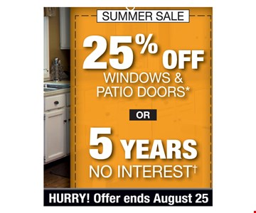 25% Off windows & patio doors* or 5 years no interest. PROMO CODE: CLIP *Min. 4-window purch. req. Discount applies to MSRP & varies by market. Some restrictions apply. Not valid on prior sales or quotes. May not be used in conjunction w/other offers/discounts. Subject to credit approval. May not be used in conjunction w/any other discounts, offers or previous quotes. No down payment. Fixed APR of 0% for 60 mos. Actual pymts. based on usage. If full credit taken on approval date, pymts. for 6-mo. promo will be $16.67, followed by 54 monthly pymts. of $16.67 for ea. $1,000 financed. If transaction is later, 54 mo. pymts. could be as high as $18.52. Account activation fee of $39 may apply wcustomer's 1st pymt. & is not reflected in pymt. amts. shown. Financing for GreenSky consumer credit programs provided by federally insured, federal & state chartered financial institutions without regard to race, color, religion, national origin, sex or familial status. See store for details. Franchise/dealer participation varies. Copyright 2019 Stanek Windows. Hurry offer ends 08/25/19.