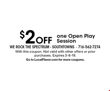 $2 Off one Open Play Session. With this coupon. Not valid with other offers or prior purchases. Expires 3-8-19. Go to LocalFlavor.com for more coupons.