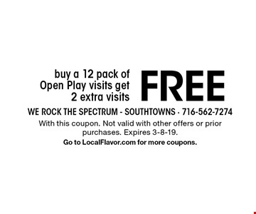 Buy a 12 pack of Open Play visits, get 2 extra visits FREE. With this coupon. Not valid with other offers or prior purchases. Expires 3-8-19. Go to LocalFlavor.com for more coupons.