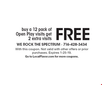 Buy a 12 pack of Open Play visits get 2 extra visits FREE. With this coupon. Not valid with other offers or prior purchases. Expires 1-25-19.Go to LocalFlavor.com for more coupons.