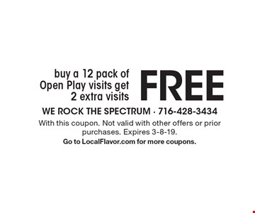 Buy a 12 pack of Open Play visits get 2 extra visits FREE. With this coupon. Not valid with other offers or prior purchases. Expires 3-8-19. Go to LocalFlavor.com for more coupons.