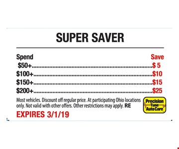Spend $50+ Save $5. $100+ Save$10. $150+ Save $15. $200+ Save $25 Most vehicles. Discount off regular price. At participating Ohio locations only. Not valid with other offers. Other restrictions may apply. RE. Expires3/1/19