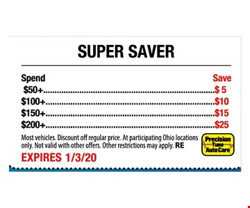 Spend $50+ Save $5. $100+ Save$10. $150+ Save $15. $200+ Save $25. Most vehicles. Discount off regular price. At participating Ohio locations only. Not valid with other offers. Other restrictions may apply. RE. Expires 1-3-20