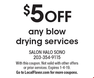 $5 OFF any blow drying services. With this coupon. Not valid with other offers or prior services. Expires 1-4-19. Go to LocalFlavor.com for more coupons.