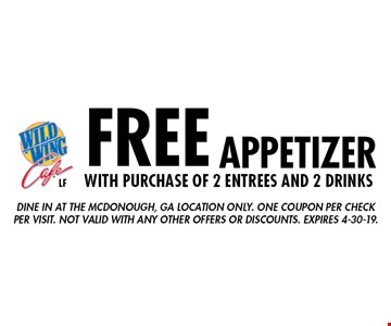 FREE appetizer with purchase of 2 entrees and 2 drinks. Dine in at the Mcdonough, GA location only. One coupon per check per visit. Not valid with any other offers or discounts. Expires 4-30-19.