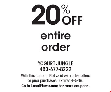 20% OFF entire order. With this coupon. Not valid with other offers or prior purchases. Expires 4-5-19. Go to LocalFlavor.com for more coupons.