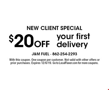 NEW CLIENT SPECIAL $20Off your first delivery. With this coupon. One coupon per customer. Not valid with other offers or prior purchases. Expires 12/6/19. Go to LocalFlavor.com for more coupons.