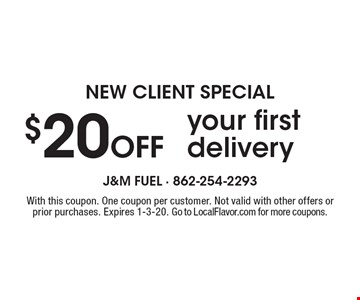 NEW CLIENT SPECIAL $20 Off your first delivery. With this coupon. One coupon per customer. Not valid with other offers or prior purchases. Expires 1-3-20. Go to LocalFlavor.com for more coupons.
