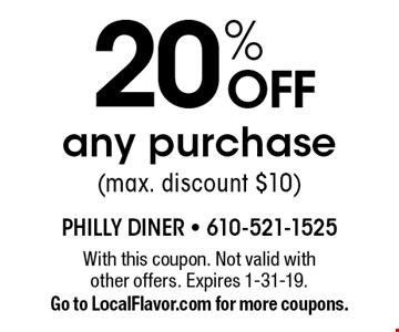 20% off any purchase (max. discount $10). With this coupon. Not valid with other offers. Expires 1-31-19. Go to LocalFlavor.com for more coupons.