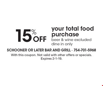 15% Off your total food purchase. Beer & wine excluded. Dine in only. With this coupon. Not valid with other offers or specials. Expires 2-1-19.