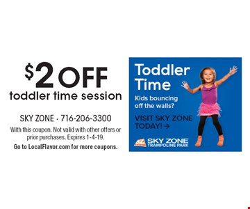 $2 off toddler time session. With this coupon. Not valid with other offers or prior purchases. Expires 1-4-19. Go to LocalFlavor.com for more coupons.