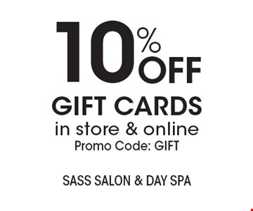 10% OFF GIFT CARDS in store & online. Promo Code: GIFT. With this coupon. Not valid with other offers or prior services. Expires 2-3-19.