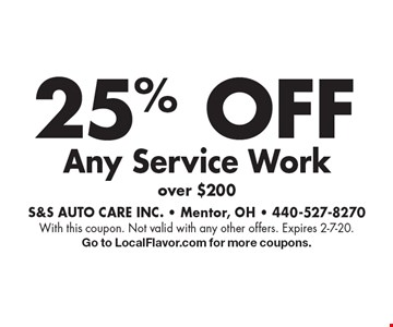 25% OFF Any Service Workover $200 . With this coupon. Not valid with any other offers. Expires 2-7-20.Go to LocalFlavor.com for more coupons.